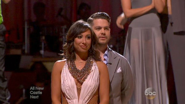 Jack Osbourne and Cheryl Burke await their fate on week five of &#39;Dancing With The Stars&#39; on Oct. 14, 2013. They received 27 out of 30 points from the judges for their Waltz. <span class=meta>(ABC Photo)</span>