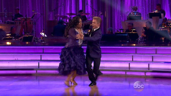 Amber Riley and Derek Hough dance the Foxtrot on week five of &#39;Dancing With The Stars&#39; on Oct. 14, 2013. They received 26 out of 30 points from the judges. <span class=meta>(ABC Photo)</span>