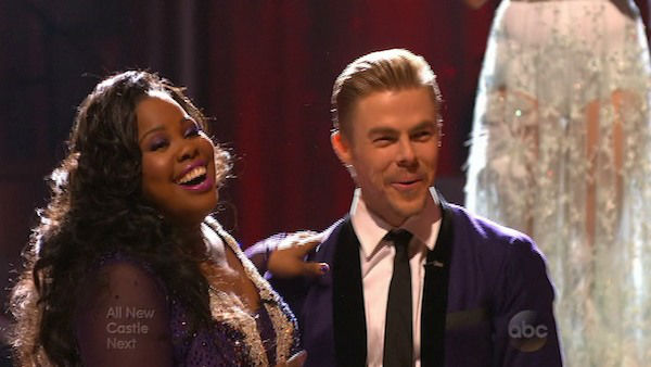 Amber Riley and Derek Hough react to being safe on week five of &#39;Dancing With The Stars&#39; on Oct. 14, 2013. They received 26 out of 30 points from the judges for their Foxtrot. <span class=meta>(ABC Photo)</span>