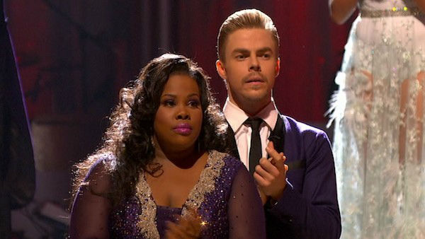 "<div class=""meta ""><span class=""caption-text "">Amber Riley and Derek Hough await their fate on week five of 'Dancing With The Stars' on Oct. 14, 2013. They received 26 out of 30 points from the judges for their Foxtrot. (ABC Photo)</span></div>"
