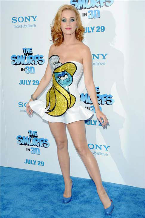 Katy Perry appears at the premiere of &#39;The Smurfs&#39; in New York City on July 24, 2011. <span class=meta>(Bill Davila &#47; startraksphoto.com)</span>