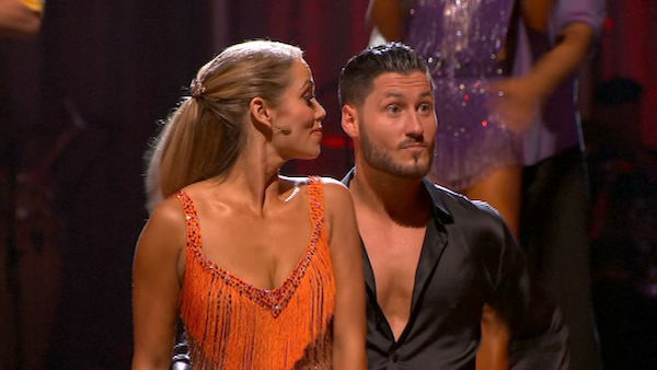 Elizabeth Berkley and Val Chmerkovskiy react to being safe on week six of &#39;Dancing With The Stars&#39; on Oct. 21, 2013. They received 30 out of 30 points from the judges for their Cha Cha Cha. The two received 2 out of 4 extra points from the &#39;Switch-Up Challenge.&#39; <span class=meta>(ABC Photo)</span>
