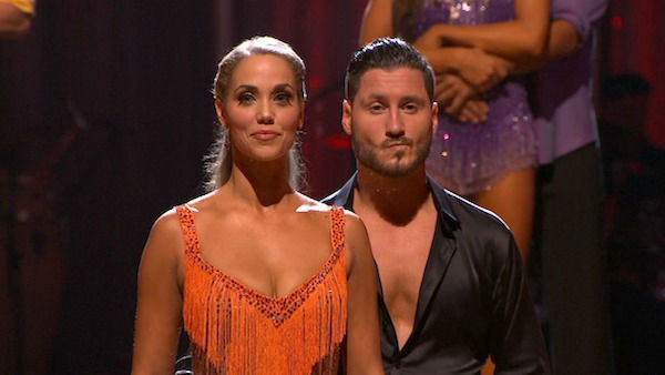 "<div class=""meta ""><span class=""caption-text "">Elizabeth Berkley and Val Chmerkovskiy await their fate on week six of 'Dancing With The Stars' on Oct. 21, 2013. They received 30 out of 30 points from the judges for their Cha Cha Cha. The two received 2 out of 4 extra points from the 'Switch-Up Challenge.' (ABC Photo)</span></div>"