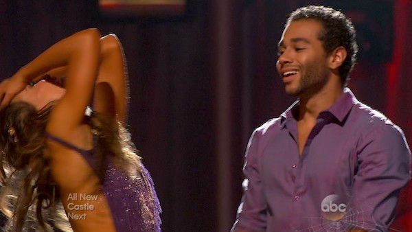 "<div class=""meta image-caption""><div class=""origin-logo origin-image ""><span></span></div><span class=""caption-text"">Corbin Bleu and Karina Smirnoff react to being safe on week six of 'Dancing With The Stars' on Oct. 21, 2013. They received 23 out of 30 points from the judges for their Viennese Waltz. The two received 4 out of 4 extra points from the 'Switch-Up Challenge.' (ABC Photo)</span></div>"