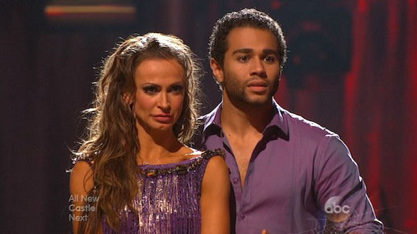 "<div class=""meta ""><span class=""caption-text "">Corbin Bleu and Karina Smirnoff await their fate on week six of 'Dancing With The Stars' on Oct. 21, 2013. They received 23 out of 30 points from the judges for their Viennese Waltz. The two received 4 out of 4 extra points from the 'Switch-Up Challenge.' (ABC Photo)</span></div>"