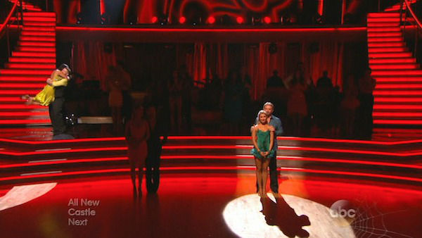 Jack Osbourne and Cheryl Burke react to being safe on week six of &#39;Dancing With The Stars&#39; on Oct. 21, 2013. They received 25 out of 30 points from the judges for their Paso Doble. The two received 2 out of 4 extra points from the &#39;Switch-Up Challenge.&#39; <span class=meta>(ABC Photo)</span>