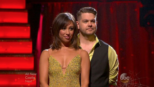 "<div class=""meta ""><span class=""caption-text "">Jack Osbourne and Cheryl Burke await their fate on week six of 'Dancing With The Stars' on Oct. 21, 2013. They received 25 out of 30 points from the judges for their Paso Doble. The two received 2 out of 4 extra points from the 'Switch-Up Challenge.' (ABC Photo)</span></div>"