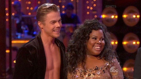 "<div class=""meta ""><span class=""caption-text "">Amber Riley and Derek Hough danced the Samba on week six of 'Dancing With The Stars' on Oct. 21, 2013. They received 28 out of 30 points from the judges. The two received 4 out of 4 extra points from the 'Switch-Up Challenge.' (ABC Photo)</span></div>"