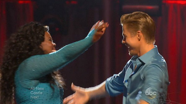 Amber Riley and Derek Hough react to being safe on week six of &#39;Dancing With The Stars&#39; on Oct. 21, 2013. They received 28 out of 30 points from the judges for their Samba. The two received 4 out of 4 extra points from the &#39;Switch-Up Challenge.&#39; <span class=meta>(ABC Photo)</span>