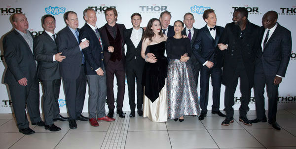Global Premiere for &#39;Marvel&#39;s Thor: The Dark World&#39; at Odeon Leicester Square on October 22, 2013 in London, England. Left to right Craig Kyle, Louis D&#39;Esposito, Kevin Feige, Alan Taylor, Chris Hemsworth, Jonathan Howard, Kat Dennings, Stellan Skarsgard, Natalie Portman, Christopher Eccleston, Tom Hiddleston, Idris Elba, Adewale Akinnuoye-Agbaje <span class=meta>(David Dettmann &#47; Walt Disney Studios)</span>