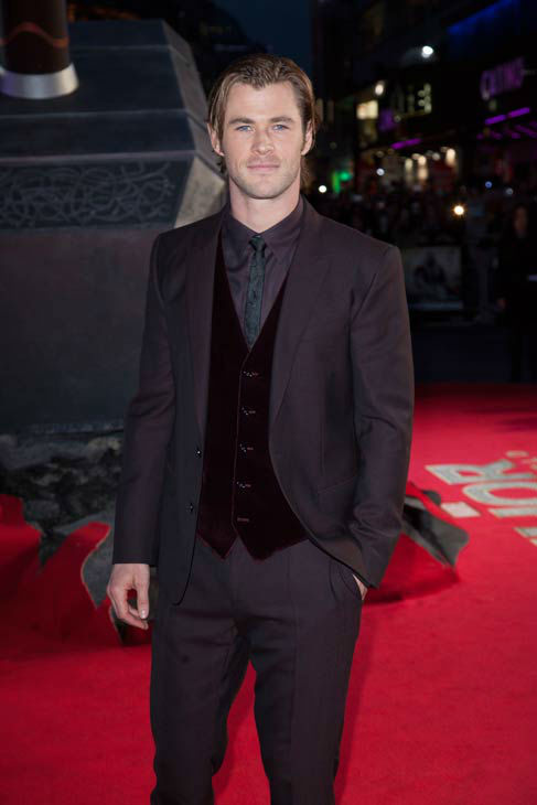 Actor Chris Hemsworth appears at the global premiere for 'Marvel's Thor: The Dark World'at Odeon Leicester Square on October 22, 2013 in London, England.