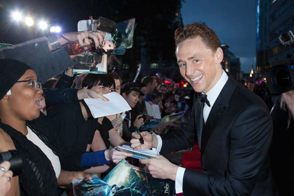 Actor Tom Hiddleston at the global premiere for 'Marvel's Thor: The Dark World'at Odeon Leicester Square on October 22, 2013 in London, England.