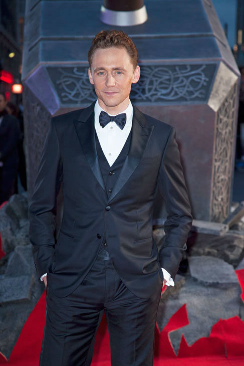 Actor Tom Hiddleston Actor Chris Hemsworth appears at the global premiere for 'Marvel's Thor: The Dark World'at Odeon Leicester Square on October 22, 2013 in London, England.
