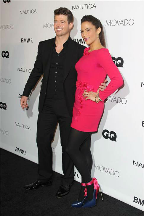 Robin Thicke and Paula Patton appear at the 2013 GQ Gentlemen's Give Back Ball in New York City on Oct. 23, 2013.