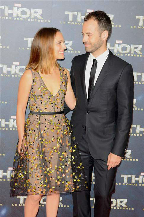 Natalie Portman and Benjamin Millepied appear at the premiere of 'Thor: The Dark World' in Paris on Oct. 23, 2013.