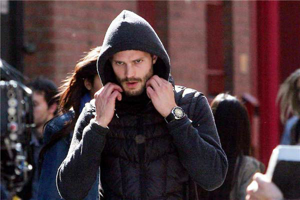 Jamie Dornan appears on the set of 'The Fall' in Belfast, Ireland on May 25, 2012.