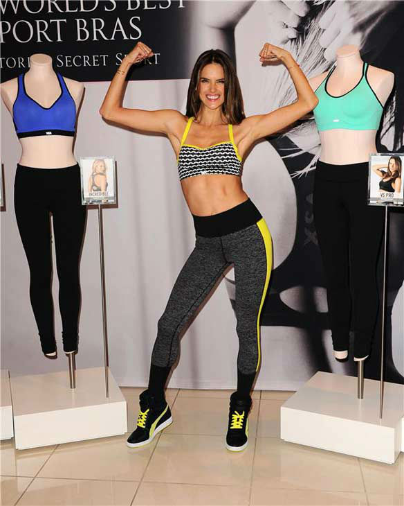Alessandra Ambrosio appears at the launch of Victoria's Secret's 'World's Best Sport Bras' in Beverly Hills, California, on Oct. 24, 2013.