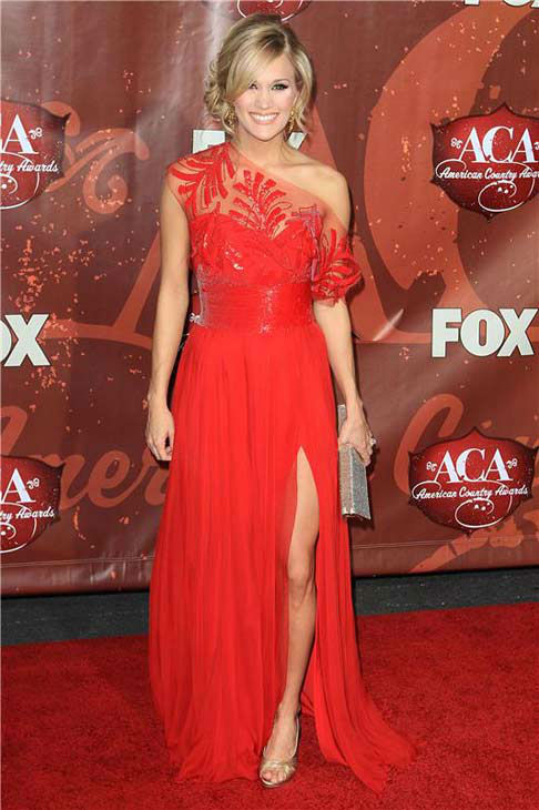 Carrie Underwood appears at the 2010 American Country Music Awards in Las Vegas, Nevada on Dec. 6, 2010.