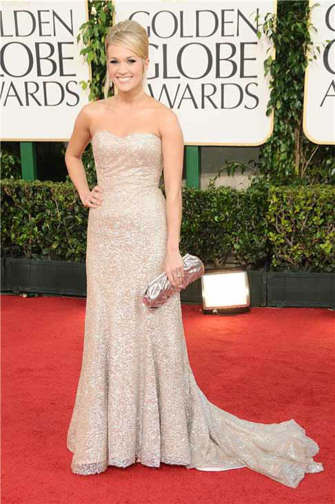 Carrie Underwood appears at the 68th annual Golden Globe Awards in Los Angeles, California on Jan. 16, 2011.