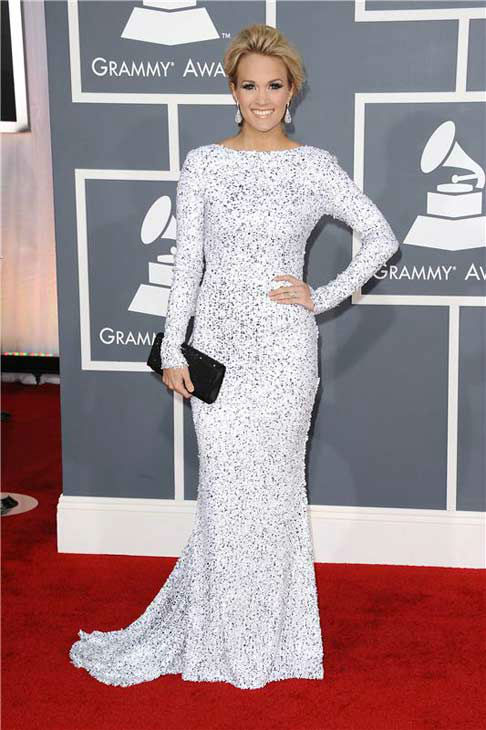 Carrie Underwood appears at the 54th annual GRAMMY Awards in Los Angeles, California on Feb. 12, 2012.