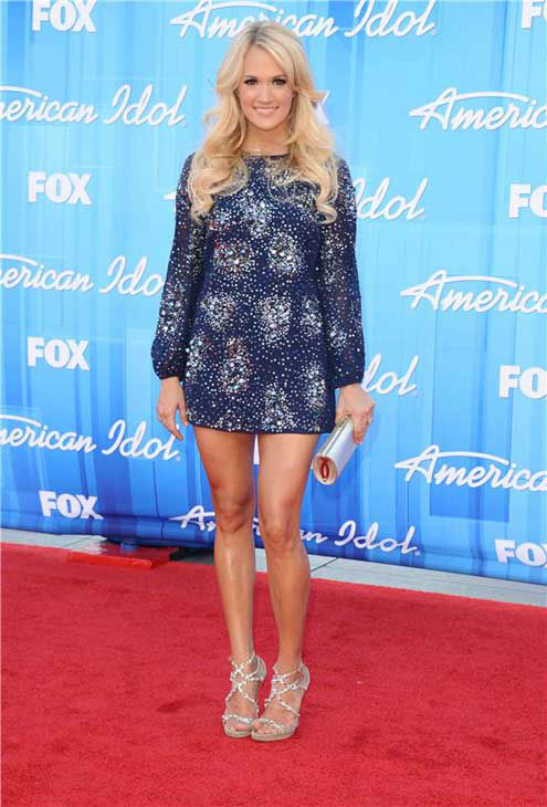 Carrie Underwood appears at the 'American Idol' season 11 finale show in Los Angeles, California on May 23, 2012.