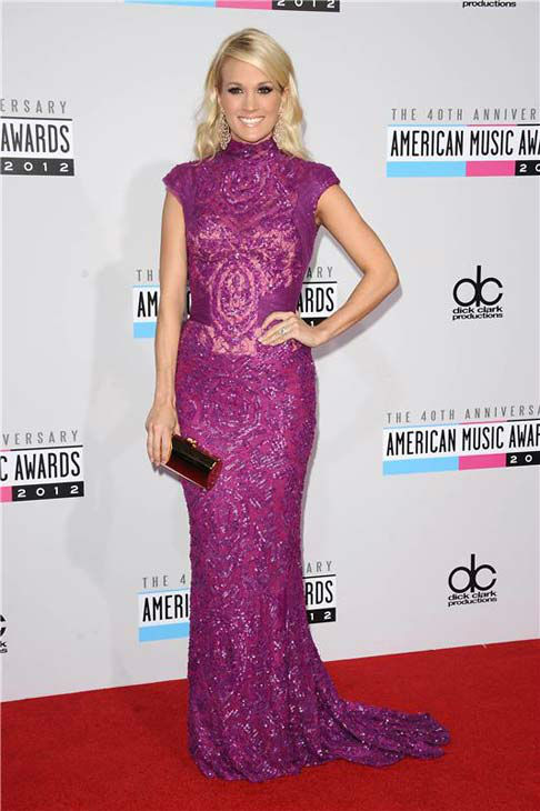 Carrie Underwood appears at the 40th annual American Music Awards in Los Angeles, California on Nov. 18, 2012.