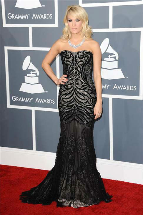 Carrie Underwood appears at the 55th annual GRAMMY Awards in Los Angeles, California on Feb. 10, 2013.