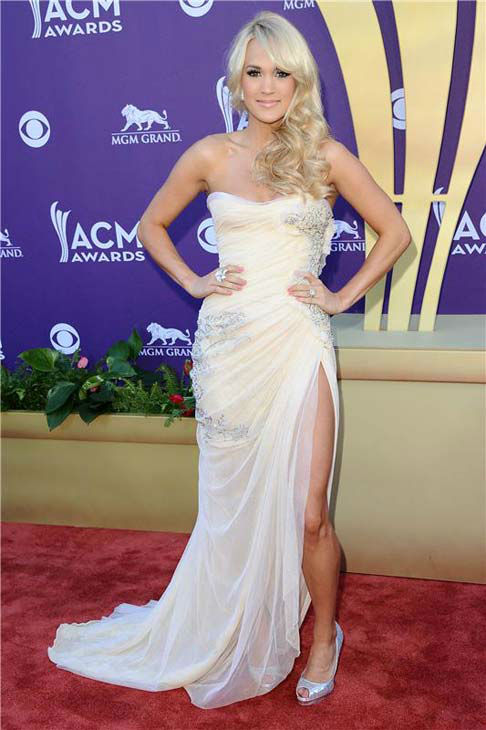 Carrie Underwood appears at the 47th annual Academy of Country Music Awards in Las Vegas, Nevada on April 1, 2012.