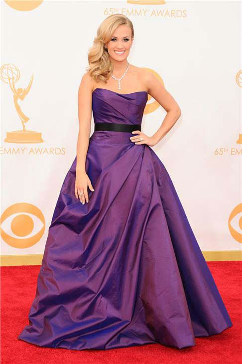 Carrie Underwood appears at the 65th annual Emmy Awards in Los Angeles, California on Sept 22, 2013.