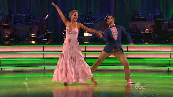 "<div class=""meta ""><span class=""caption-text "">Elizabeth Berkley and Val Chmerkovskiy dance the Quickstep on week seven of 'Dancing With The Stars' on Oct. 28, 2013. They received 27 out of 30 points from the judges. The two received 27 out of 30 extra points from the team dance. (ABC Photo)</span></div>"