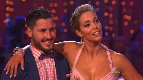 "<div class=""meta image-caption""><div class=""origin-logo origin-image ""><span></span></div><span class=""caption-text"">Elizabeth Berkley and Val Chmerkovskiy danced the Quickstep on week seven of 'Dancing With The Stars' on Oct. 28, 2013. They received 27 out of 30 points from the judges. The two received 27 out of 30 extra points from the team dance. (ABC Photo)</span></div>"