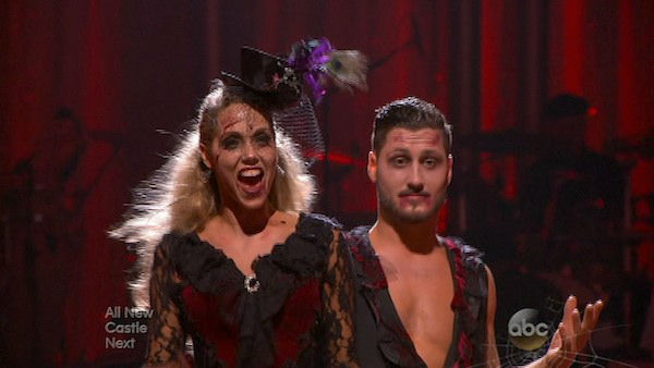 "<div class=""meta image-caption""><div class=""origin-logo origin-image ""><span></span></div><span class=""caption-text"">Elizabeth Berkley and Val Chmerkovskiy react to being safe on week seven of 'Dancing With The Stars' on Oct. 28, 2013. They received 27 out of 30 points from the judges for their Quickstep. The two received 27 out of 30 extra points from the team dance. (ABC Photo)</span></div>"