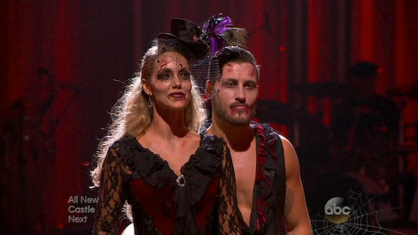 Elizabeth Berkley and Val Chmerkovskiy await their fate on week seven of &#39;Dancing With The Stars&#39; on Oct. 28, 2013. They received 27 out of 30 points from the judges for their Quickstep. The two received 27 out of 30 extra points from the team dance. <span class=meta>(ABC Photo)</span>