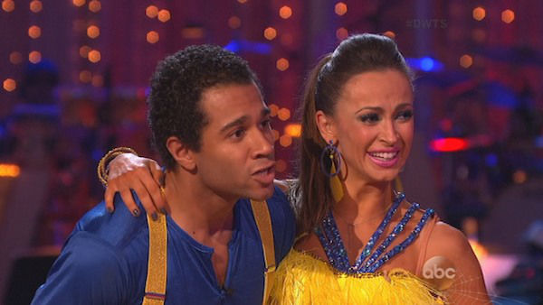 "<div class=""meta image-caption""><div class=""origin-logo origin-image ""><span></span></div><span class=""caption-text"">Corbin Bleu and Karina Smirnoff danced the Cha Cha Cha on week seven of 'Dancing With The Stars' on Oct. 28, 2013. They received 29 out of 30 points from the judges. The two received 30 out of 30 extra points from the team dance. (ABC Photo)</span></div>"