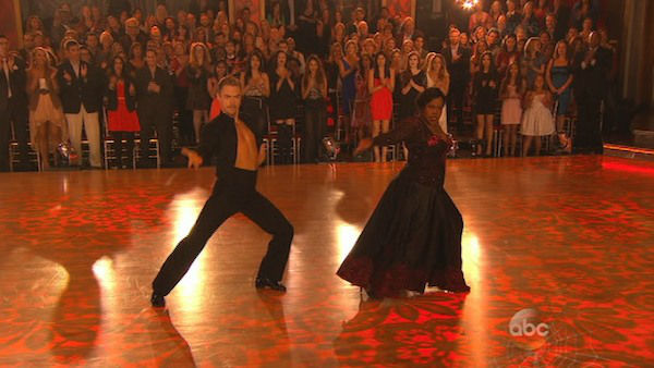 "<div class=""meta ""><span class=""caption-text "">Amber Riley and Derek Hough dance the Paso Doble on week seven of 'Dancing With The Stars' on Oct. 28, 2013. They received 29 out of 30 points from the judges. The two received 30 out of 30 extra points from the Team dance. (ABC Photo)</span></div>"