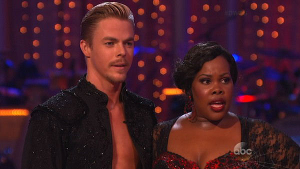 "<div class=""meta ""><span class=""caption-text "">Amber Riley and Derek Hough danced the Paso Doble on week seven of 'Dancing With The Stars' on Oct. 28, 2013. They received 29 out of 30 points from the judges. The two received 30 out of 30 extra points from the Team dance. (ABC Photo)</span></div>"