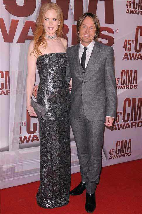 Nicole Kidman and Keith Urban appear at the 45th annual Country Music Awards in Nashville, Tennessee on Nov. 9, 2011.