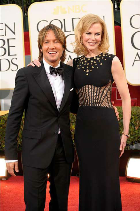 Nicole Kidman and Keith Urban appear at the 70th annual Golden Globe Awards in Los Angeles, California on Jan. 13, 2013.