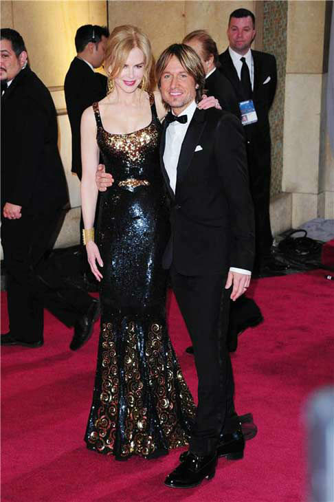 Nicole Kidman and Keith Urban appear at the 85th annual Academy Awards in Los Angeles, California on Feb. 24, 2013.