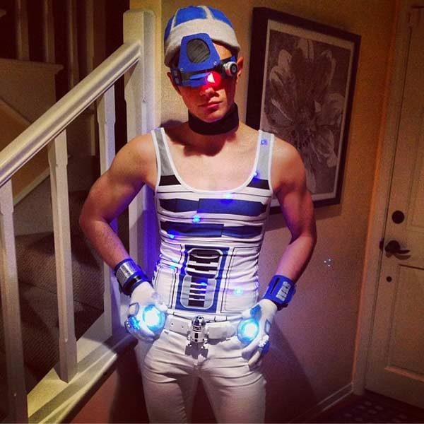 'Glee' actor Chris Colfer dressed as R2D2 from 'Star Wars' on Oct 26, 2013.
