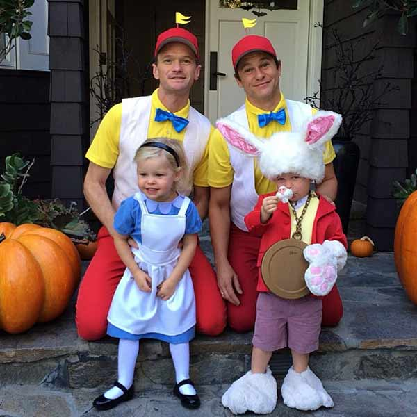 Neil Patrick Harris with fiance David Burtka and twins, Gideon and Harper, dressed as Tweedledum, Tweedledee, Alice and the White Rabitt from 'Alice in Wonderland' on Oct. 20, 2013.