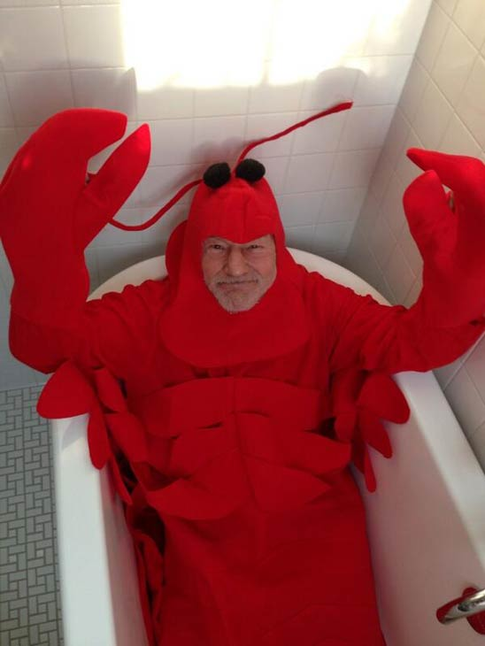 'X-Men's Patrick Stewart dressed as a lobster on Oct. 31, 2013 -- Halloween.