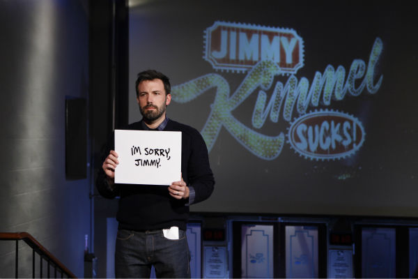 "<div class=""meta image-caption""><div class=""origin-logo origin-image ""><span></span></div><span class=""caption-text"">Ben Affleck appears on a Matt Damon-hijacked episode of ABC's 'Jimmy Kimmel Live!,' renamed 'Jimmy Kimmel Sucks,' on Jan. 24, 2013. (ABC Photo / Randy Holmes)</span></div>"