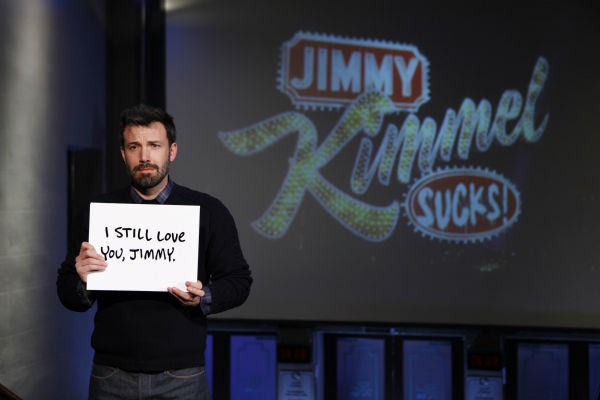 Ben Affleck appears on a Matt Damon-hijacked episode of ABC&#39;s &#39;Jimmy Kimmel Live!,&#39; renamed &#39;Jimmy Kimmel Sucks,&#39; on Jan. 24, 2013. <span class=meta>(ABC Photo &#47; Randy Holmes)</span>