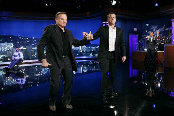 "<div class=""meta ""><span class=""caption-text "">Robin Williams appears on a Matt Damon-hijacked episode of ABC's 'Jimmy Kimmel Live!,' renamed 'Jimmy Kimmel Sucks,' on Jan. 24, 2013. (ABC Photo / Randy Holmes)</span></div>"