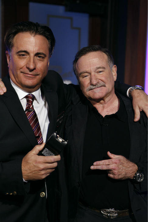 "<div class=""meta ""><span class=""caption-text "">Robin Williams and Andy Garcia appear on a Matt Damon-hijacked episode of ABC's 'Jimmy Kimmel Live!,' renamed 'Jimmy Kimmel Sucks,' on Jan. 24, 2013. (ABC Photo / Randy Holmes)</span></div>"