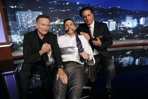 Robin Williams, Jimmy Kimmel and Andy Garcia appear on a Matt Damon-hijacked episode of ABC&#39;s &#39;Jimmy Kimmel Live!,&#39; renamed &#39;Jimmy Kimmel Sucks,&#39; on Jan. 24, 2013. <span class=meta>(ABC Photo &#47; Randy Holmes)</span>