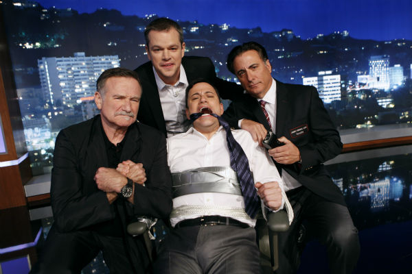 "<div class=""meta ""><span class=""caption-text "">Robin Williams, Jimmy Kimmel, Andy Garcia appear on a ABC's 'Jimmy Kimmel Live!,' renamed 'Jimmy Kimmel Sucks' after Damon hijacked the show on Jan. 24, 2013. (ABC Photo / Randy Holmes)</span></div>"