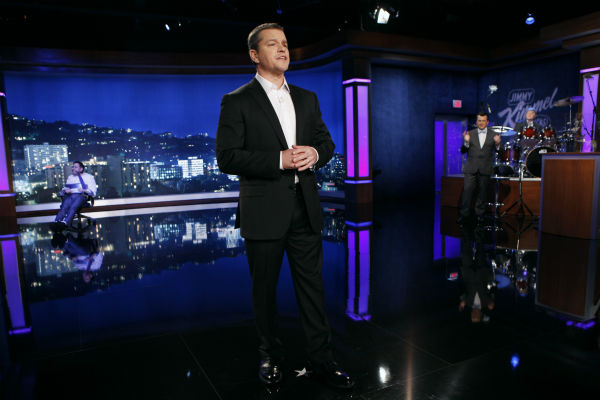 Matt Damon appears on 'Jimmy Kimmel Live!,' renamed 'Jimmy Kimmel Sucks,' after he hijacked the show on Jan. 24, 2013.
