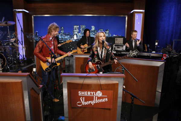 "<div class=""meta image-caption""><div class=""origin-logo origin-image ""><span></span></div><span class=""caption-text"">Sheryl Crow appears on a Matt Damon-hijacked episode of ABC's 'Jimmy Kimmel Live!,' renamed 'Jimmy Kimmel Sucks,' on Jan. 24, 2013. (ABC Photo / Randy Holmes)</span></div>"